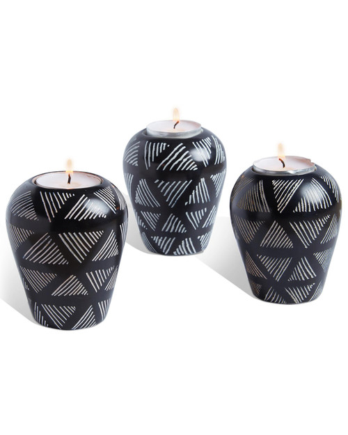 Black Dash Tea Light/Taper Candleholder View Product Image