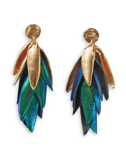 Jewel Beetle Wings Reticulated Drop Earrings View Product Image