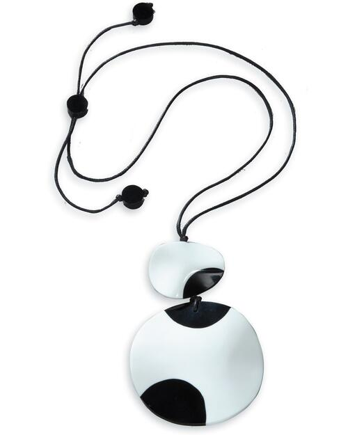 Black and White Disc Pendant Necklace View Product Image