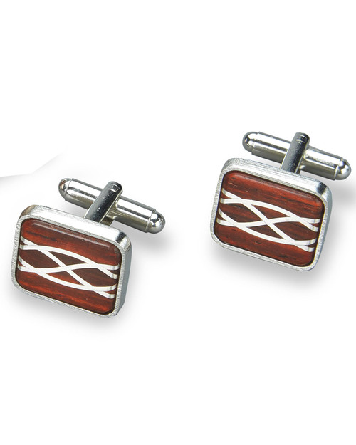 Silver Inlay Cocobolo Cuff Links View Product Image
