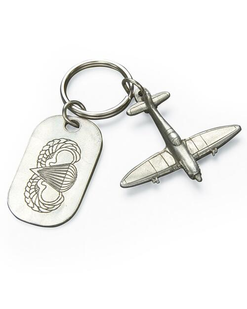Pewter Spitfire Keychain with Dog Tag View Product Image