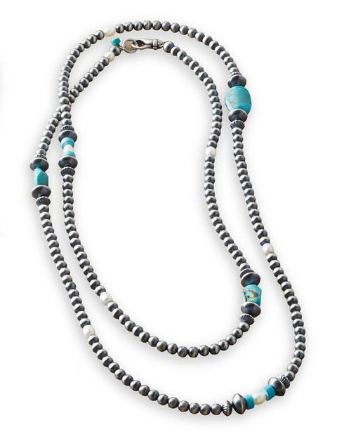 Santo Domingo Sterling Silver, Turquoise and Pearl Necklace View Product Image