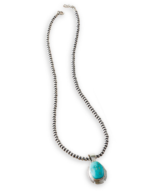 Native American Sterling Silver and Turquoise Pendant Necklace View Product Image