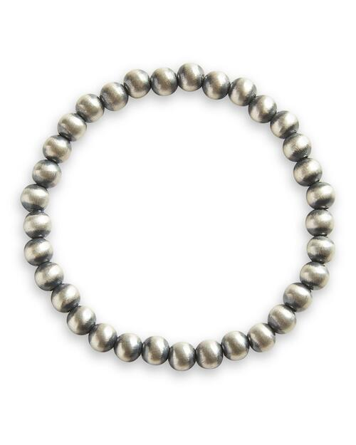 6MM Medium Navajo Sterling Silver Stretch Bracelet View Product Image