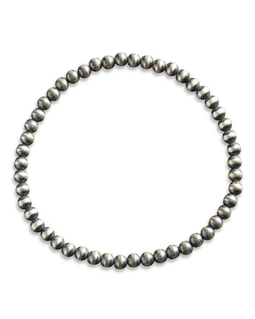4MM Small Navajo Sterling Silver Stretch Bracelet View Product Image