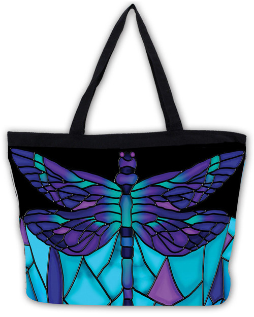 """""""Stained Glass"""" Dragonfly Tote Bag View Product Image"""