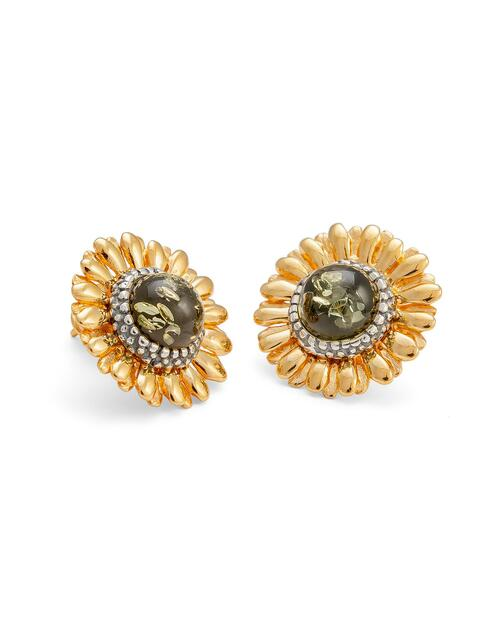 Green Amber Sunflower Earrings View Product Image