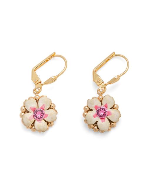 Rose Flower Enamel Earrings View Product Image