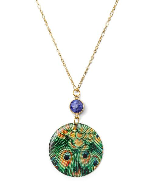 Sapphire and Peacock Pendant Necklace View Product Image