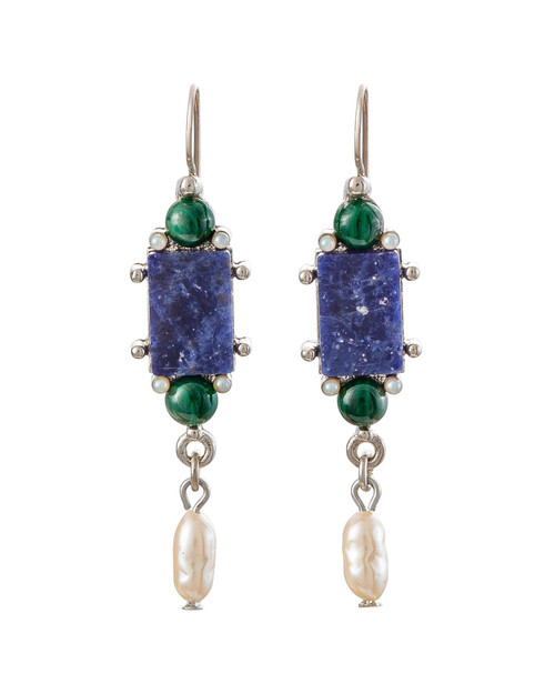 Blue Sodalite and Malachite Drop Earrings View Product Image