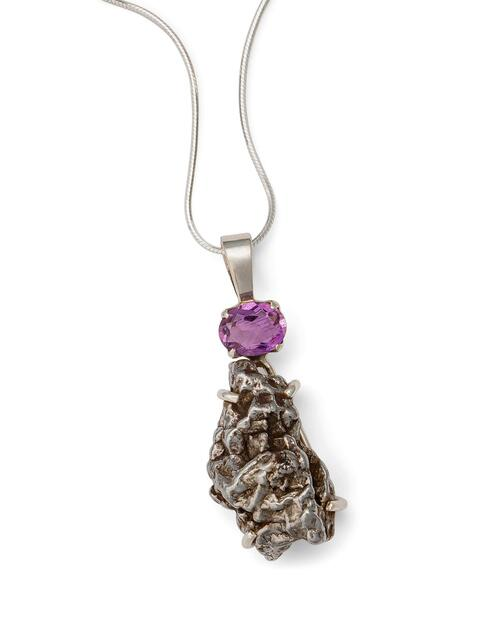 Amethyst with Meteorite Pendant Necklace View Product Image