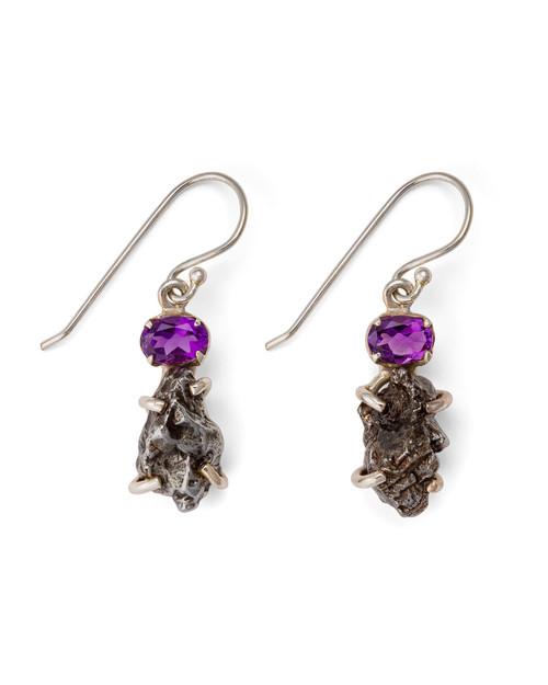 Amethyst with Meteorite Pendant Earrings View Product Image