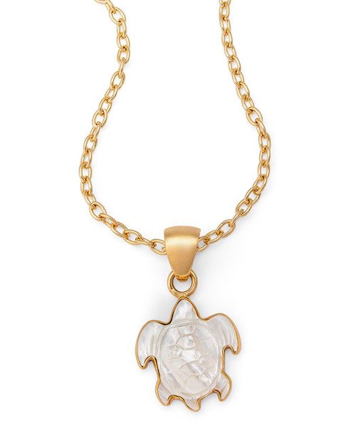 Mother-of-Pearl Turtle Pendant Necklace View Product Image