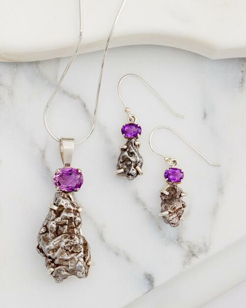 Amethyst with Meteorite Pendant Jewelry Set View Product Image