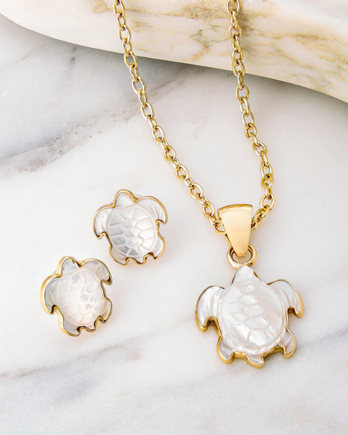 Mother-of-Pearl Turtle Jewelry Set View Product Image