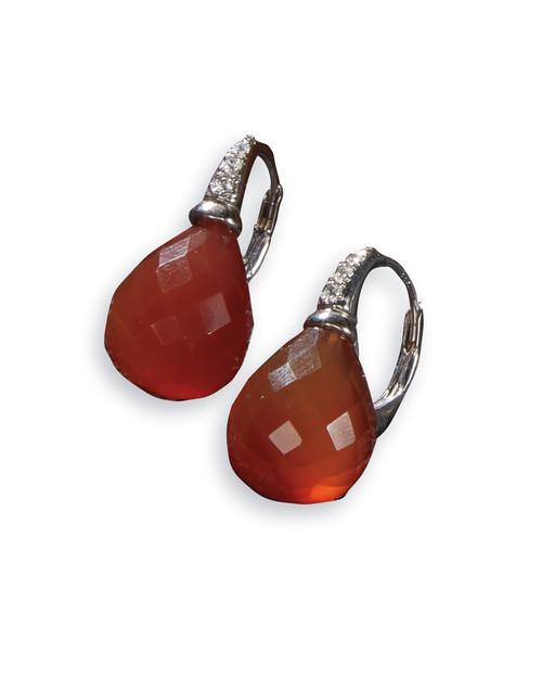 Carnelian Drop Leverback Earrings View Product Image
