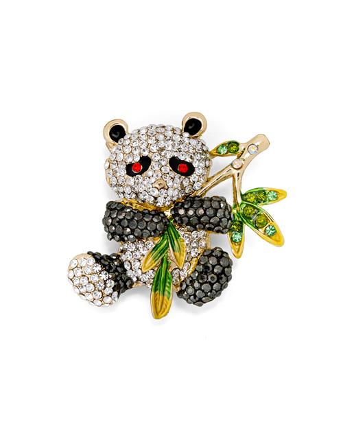 Rhinestone Panda Pin View Product Image