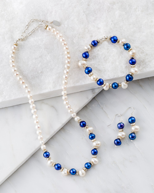 Blue and White Freshwater Pearl Jewelry Set View Product Image