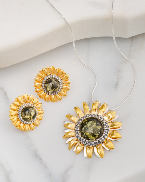 Green Amber Sunflower Jewelry Set View Product Image
