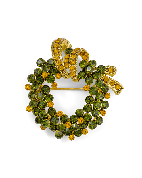 Green Christmas Wreath Pin View Product Image