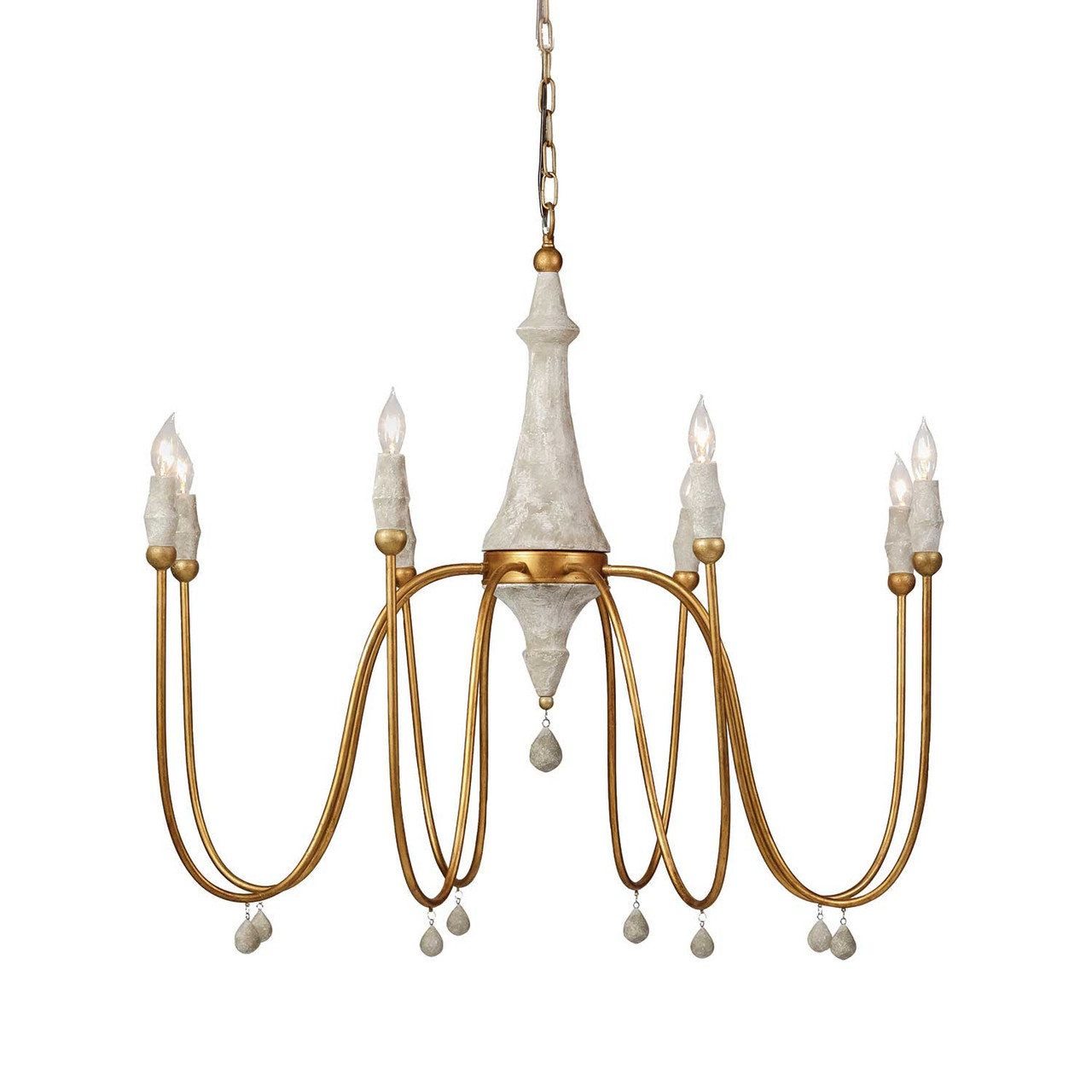Clay Chandelier in Gold