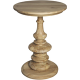 Noir Old Elm Pedestal Side Table, Natural