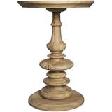 Noir Old Elm Pedestal Side Table, Natural
