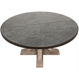 Noir Hammered Zinc Top Rd Table with Wooden X Base, Vintage