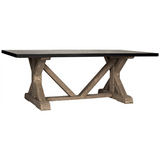 Noir X Base Table with Hammered Zinc Top, Vintage