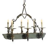 Vintage Wood & Iron Trestle Chandelier 6 light