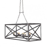 French Iron Medallion Rectangular Chandelier 8 Light