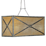 French Iron Medallion Rectangular Small 6 Light Chandelier