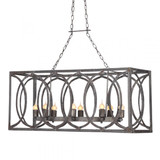 French Iron Charles Rectangular Small 6 Light Chandelier