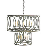 French Iron Charles 2 Tier Pendant 12 Light
