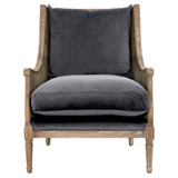 Churchill Club Chair in Shadow Gray Velvet