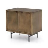 Sunburst Cabinet Nightstand in Aged Brass