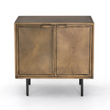 Sunburst Cabinet Nightstand in Aged Brass