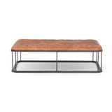 Isle Ottoman Coffee Table in Brandy Leather