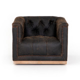 Maxx Swivel Chair in Destroyed  Black Leather