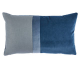 Connor Blue Velvet & Linen Pillow