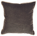Velvet Charcoal & Linen Flange Pillow
