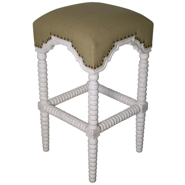 Noir Abacus Counter Stool, White Wash