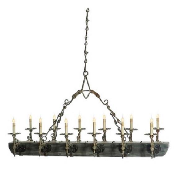 Vintage Wood & Iron Trestle Chandelier 12 light