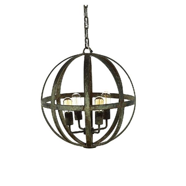 French Iron Planet 4 Light Chandelier Pendant