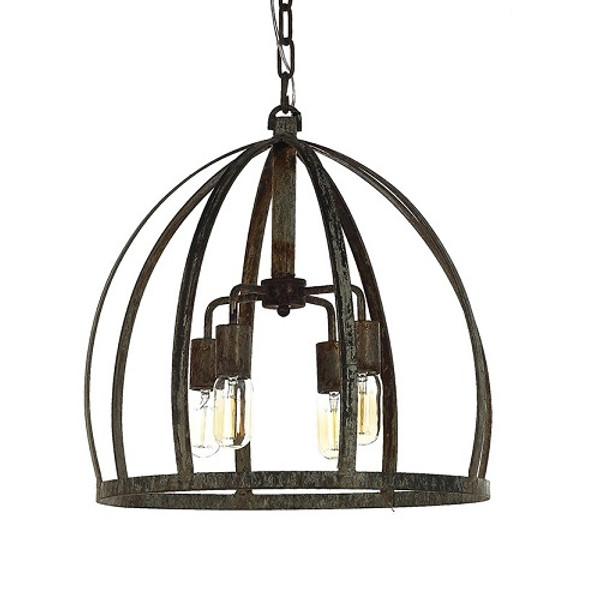 French Iron Small Scarlet 4 Light Chandelier Pendant