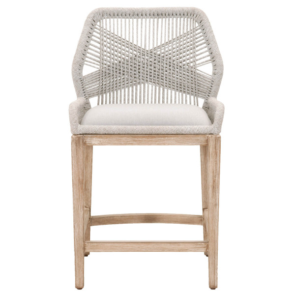 Loom Counter Stool in Taupe & White