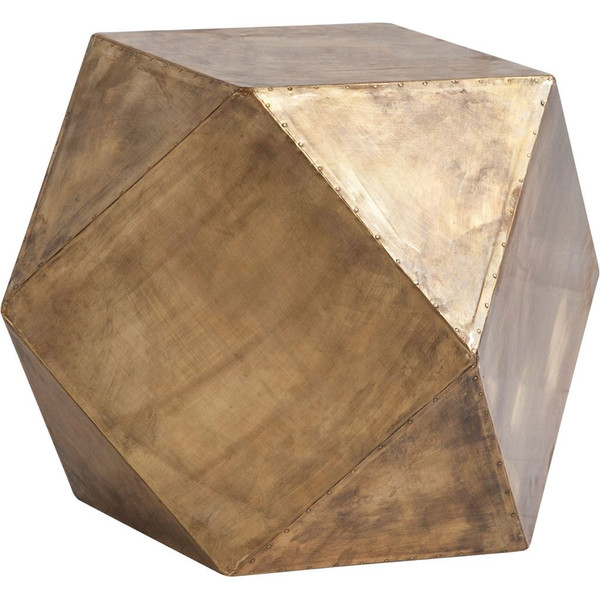 Exagoni Side Table in Brass
