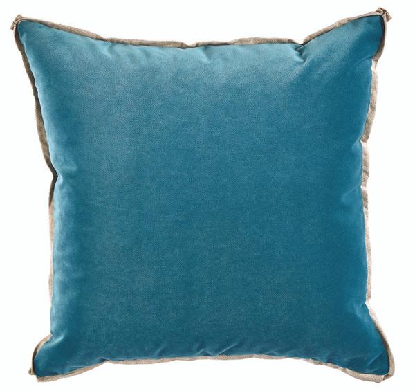 Velvet Glass Blue & Linen Flange Pillow
