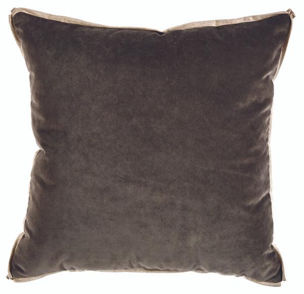 Velvet Charcoal & Linen Flange Pillow