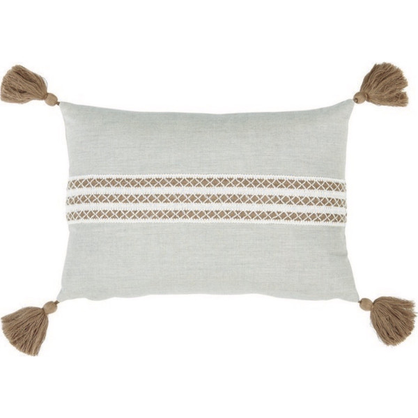 Silver Lumbar Tassel Pillow
